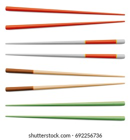 Chopsticks Vector Set. Realistic Wooden Set Of Classic Japanese, Chinese, Asian Food Chopsticks Isolated Illustration