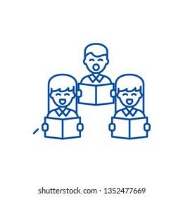 Choral singing line icon concept. Choral singing flat  vector symbol, sign, outline illustration.