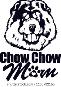 Chow Chow Dog Breed Love Peeking Pet Puppy Mom Design Element Ribbon Isolated Head Face