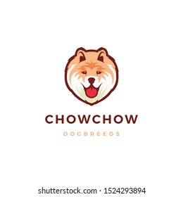 chow chow dog logo vector icon illustration