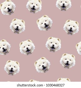 Chow chow dog seamless pattern. Vector illustration