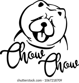Chow-chow head silhouette with hand-written word