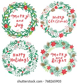 Chriatmas wreath with berries, fir branches and lettering. Round frame for winter design. Vector background