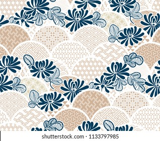 chrisantemum flower traditional kimono pattern vector sketch illustration line art japanese chinese oriental design