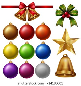 Chrismas ornaments with balls and bells illustration