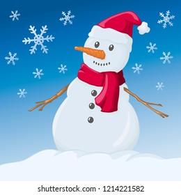 Chrismas snowman. Vector illustration