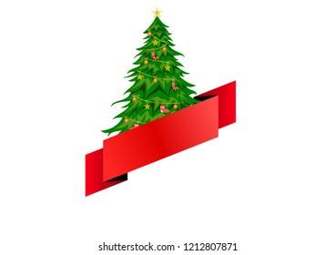 Chrismas tree and red ribbon vector illustration
