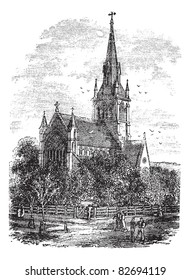 Christ Church Cathedral in Fredericton, New Brunswick, Canada, during the 1890s, vintage engraving. Old engraved illustration of Christ Church Cathedral. Trousset encyclopedia (1886 - 1891).