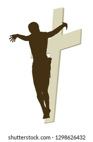 Christ illustration silhouette with cross behind