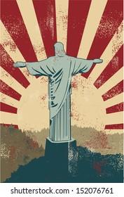 Christ the Redeemer statue poster, vector
