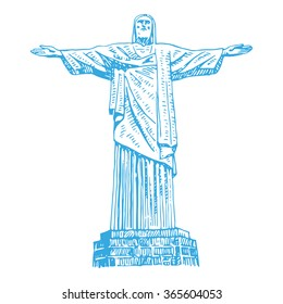 The Christ the Redeemer statue in Rio de Janeiro, Brazil. Vector freehand pencil sketch.