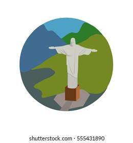 Christ the Redeemer vector icon sign. Rio de Janeiro Brazil capital monument. World famous landmark. Art Deco statue of Jesus Christ symbol. Vector flat style design. Website, application button