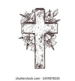 Christ stone crosse with wreath of white flowers lily. Vector hand drawn illustration. Symbol of christianity, church, Jesus, religion, catholicism. Isolated drawing sketch of sign of resurrection