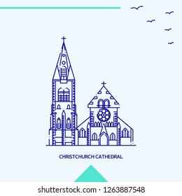 CHRISTCHURCH CATHEDRAL skyline vector illustration