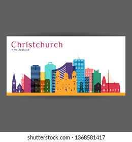 Christchurch city architecture silhouette. Colorful skyline. City flat design. Vector business card.