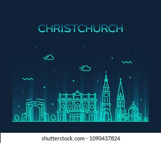 Christchurch city skyline, New Zealand. Trendy vector illustration, linear style