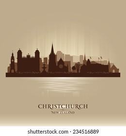 Christchurch New Zealand city skyline vector silhouette illustration
