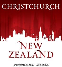 Christchurch New Zealand city skyline silhouette. Vector illustration