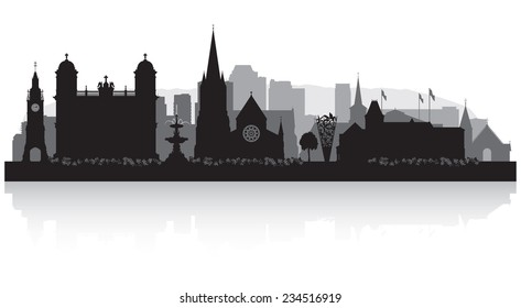 Christchurch New Zealand city skyline vector silhouette illustration