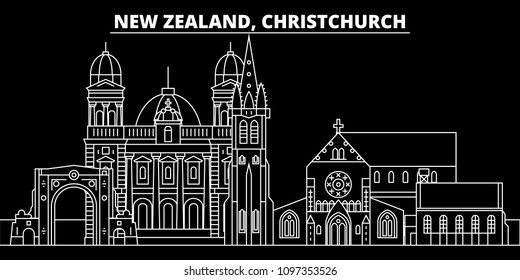 Christchurch silhouette skyline. New Zealand - Christchurch vector city, linear architecture. Christchurch travel illustration, outline landmarks. New Zealand flat icon, line banner
