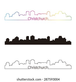 Christchurch skyline linear style with rainbow in editable vector file