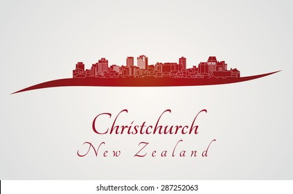 Christchurch skyline in red and gray background in editable vector file