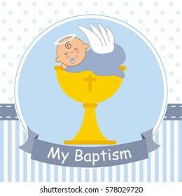 Christening card. Baby boy sleeping on top of a calyx