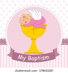 Christening card. Baby sleeping on top of a calyx
