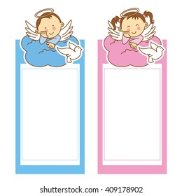 christening girl and boy. space for text