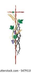Christian abstract religious illustration, with a cross and thorns for lent, Eucharist symbols of vine, grapes and wheat ears