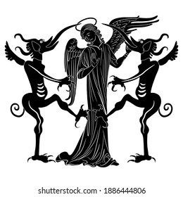 Christian angel standing between two devils. Creative concept for sin and temptation. Juxtaposition of good and evil. Black and white silhouette.