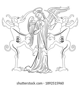 Christian angel standing between two devils with long tongues. Sin and temptation. Juxtaposition of good and evil. Metaphor of gossip. Black and white linear silhouette.