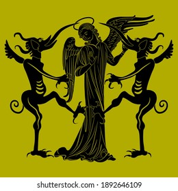 Christian angel standing between two devils with long tongues. Sin and temptation. Juxtaposition of good and evil. Metaphor of gossip. Monochrome silhouette.