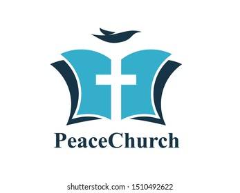 Christian Bible with cross as negative space and dove flying logo