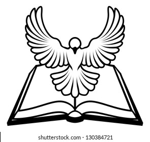 Christian Bible dove concept, white dove representing the holy spirit flying out of the bible. Could refer to inerrant or inspired nature of the bible, or word of God coming to us through the bible.