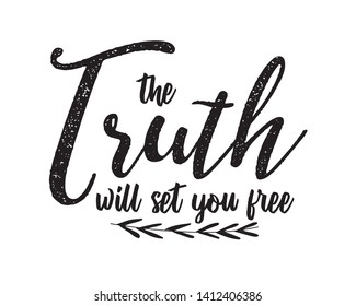 "Christian bible verse ""the truth will set you free"" on background vector illustration"
