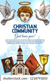 Christian catholic religion Holy Bible book, church of God Jesus Christ and cross, angel with halo, saint icon, doves and chalice sketches. Religious community or missionary, vector