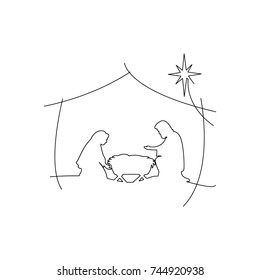 Christian Christmas Nativity Scene of baby Jesus in the manger with Mary and Joseph vector illustration black outlines, isolated on white background