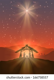 Christian Christmas scene with shining star and birth of Jesus, illustration.