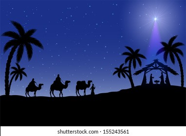 Christian Christmas scene with the three wise men and star, illustration.
