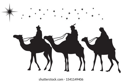 Christian Christmas silhouette with three wise men and a star. Traditional religious scene. Illustration for children.