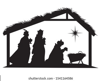 Christian Christmas silhouette with three wise men and a star. Scene with baby Jesus in a manger surrounded by three wise men. Nativity scene. Illustration for children.