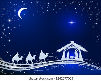 Christian Christmas theme. Birth of Jesus, shining star and three wise men on blue background, illustration.