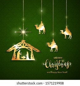 Christian Christmas theme. Golden elements on green background. Birth of Jesus, shining star and three wise men. Illustration can be used for holiday design, cards, invitations, postcards, banners.