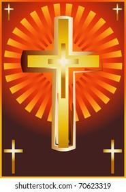 Christian church cross, religious spiritual symbol illustration