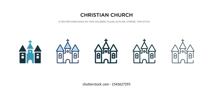 christian church icon in different style vector illustration. two colored and black christian church vector icons designed in filled, outline, line and stroke style can be used for web, mobile, ui