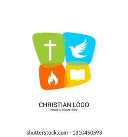Christian church logo. Bible symbols. Color panels with the image of the cross, dove, flame and bible.