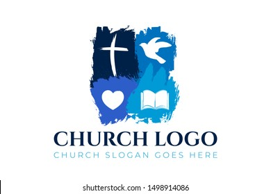 Christian Church Logo Design with Cross, Dove, Hearth and Bible
