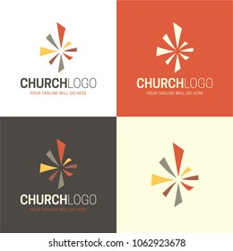 Christian Church Logo and Icon. Vector Illustration. A logo featuring a modern, colorful abstract cross.