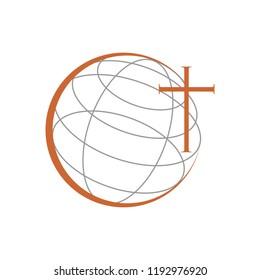 Christian Church Ministry World Cross Symbol Design
